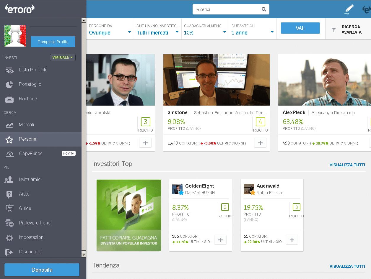 Una visione della piattaforma trading eToro