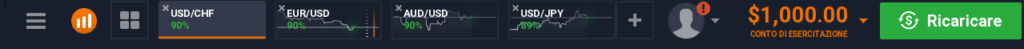 Menu orizzontale della piattaforma Iq Option