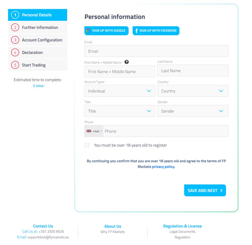 come registrare un account su fp markets