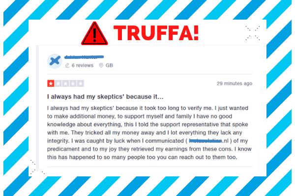 attenzione alle recensioni false su Trustpilot che possono riguardare truffe legate a Capital.com
