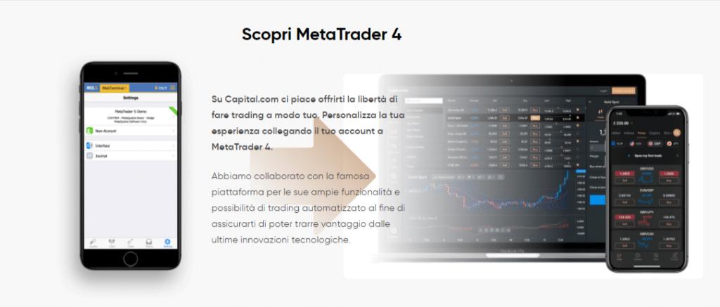 capital.com permette ai trader di utilizzare MetaTrader 4 senza bisogno di aprire un nuovo account
